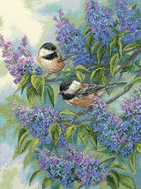 """Dimensions Gold Collection Counted Cross Stitch Kit 12""""X16""""-Chickadees & Lilacs  - $44.61"""