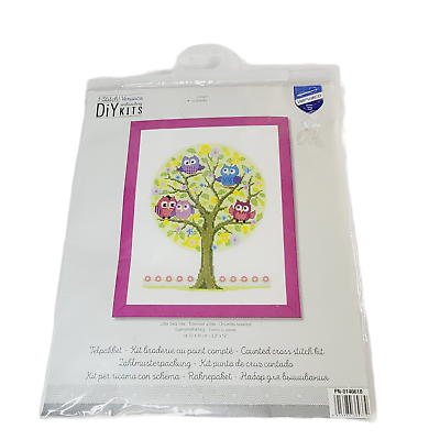 """Vervaco DIY Embroidery Kit Little Owl Tree Finished 9 x 12"""" Craft Kit Pink Blue - $44.98"""