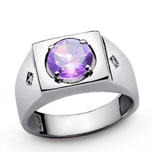 Purple Round AMETHYST and Diamond Accents in Men's Ring SOLID 925 Silver... - $143.99