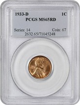 1933-D 1c PCGS MS65 RD - Lincoln Cent - $169.75