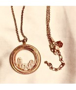 Origami Owl Floating Memories Rose Gold Necklace Charm Pendant W/ Insert... - $35.64