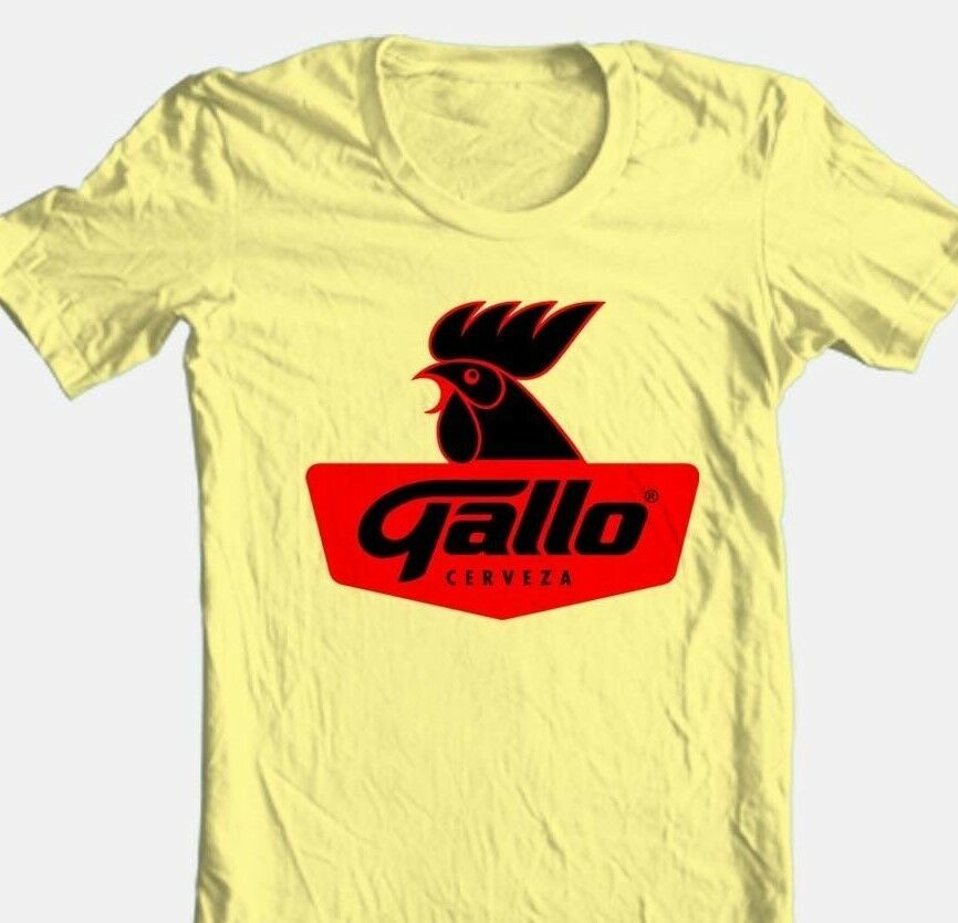 Gallo Beer T-shirt Free Shipping 100% cotton graphic printed yellow tee shirt
