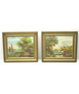 "2pc 5x6"" Framed Original Oil Paintings Vintage MCM Asian? Dutch? New Yor... - $42.06"