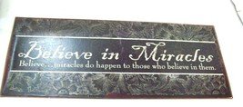 """Believe in Miracles Metal Wall Plaque, 12"""" x  5"""" Home Decor - $10.88"""