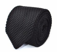 Knitted Plain Black Mens Tie with pointed end by Frederick Thomas FT2006a in 8cm