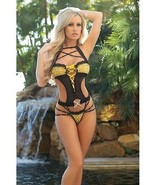 CUT OUT TEDDY WITH DAZZLING STRAPS & CONTRASTING BLACK & YELLOW LACE LIN... - €29,18 EUR