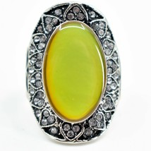 Vintage Inspired Style Crystal Accent & Oval Color Changing Cabochon Mood Ring