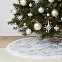 "48"" Fair Isle Knit Christmas knit Tree Skirt Ivory and Gray Wondershop NEW"
