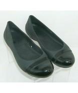 Crocs black man made cap toe slip on waterproof womens ballet flat 7M 7176 - $28.63