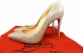 Christian Louboutin Pigalle Follies Glitzer Gold Pumps 39 Spitz Schuhe P... - $400.89