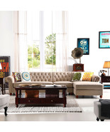 Morden Chesterfield Tufted Couch Left Chaise Lounge Sectional Button Sof... - $1,709.08