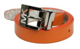 Michael Kors MK Women's Premium Logo Reverisble Belt White & Orange 552501