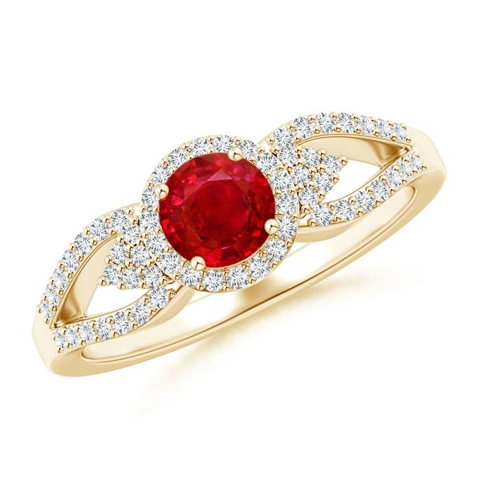 0.89tcw Round Natural Ruby Diamond Halo Ring Gold/Platinum