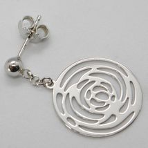 SOLID 18K WHITE GOLD PENDANT EARRINGS, FLOWER ROSE WORKED DISC, MADE IN ITALY image 3