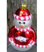 Arkansas Razorbacks Snowman Christmas Ornament Glass - £12.17 GBP