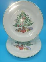 "Set Of 7 Gibson China Christmas Tree Plate Dessert Salad 7 1/2"" - free shipping - $34.25"