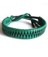 GREEN LEATHER ADJUSTABLE LEATHER FRIENDSHIP WOVEN BRACELET WRISTBAND TIE... - $6.93