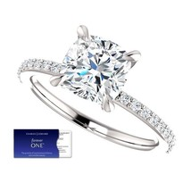 2.00 Carat Moissanite Forever One Cushion Ring in 14K Gold (Charles&Colv... - $995.00