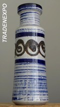"Tall 12"" Vintage 60-70's SCHEURICH Keramik Blue Vase German Pottery Fat ... - $24.74"