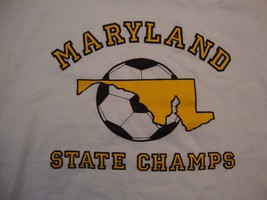 Vintage Maryland State Champs Soccer Sportswear Fan White Cotton T Shirt... - $16.82