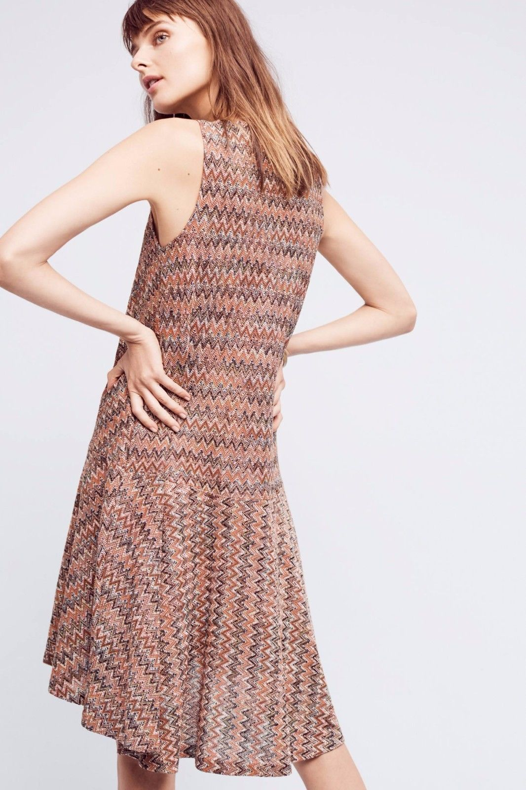 NWT ANTHROPOLOGIE WESTWATER CHEVRON KNIT BROWN DRESS by MAEVE M
