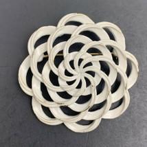 Crown Trifari White Enamel Brooch Pin Vintage Gold Tone Open Work Ribbon... - $14.80