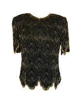80s 100% Silk Scallop Edge Black Silver Gold Beaded Sequin Evening Occas... - $36.00