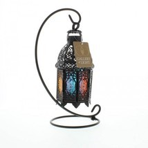 Rainbow Moroccan METALWORK Lantern Candle Holder Wedding Centerpiece w S... - $10.30