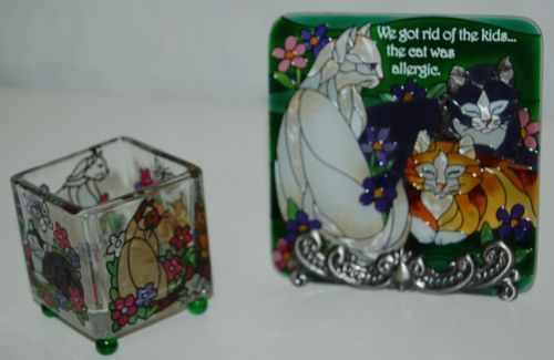 Joan Baker Designs Hand Painted Cat Plaque Small Candle Holder