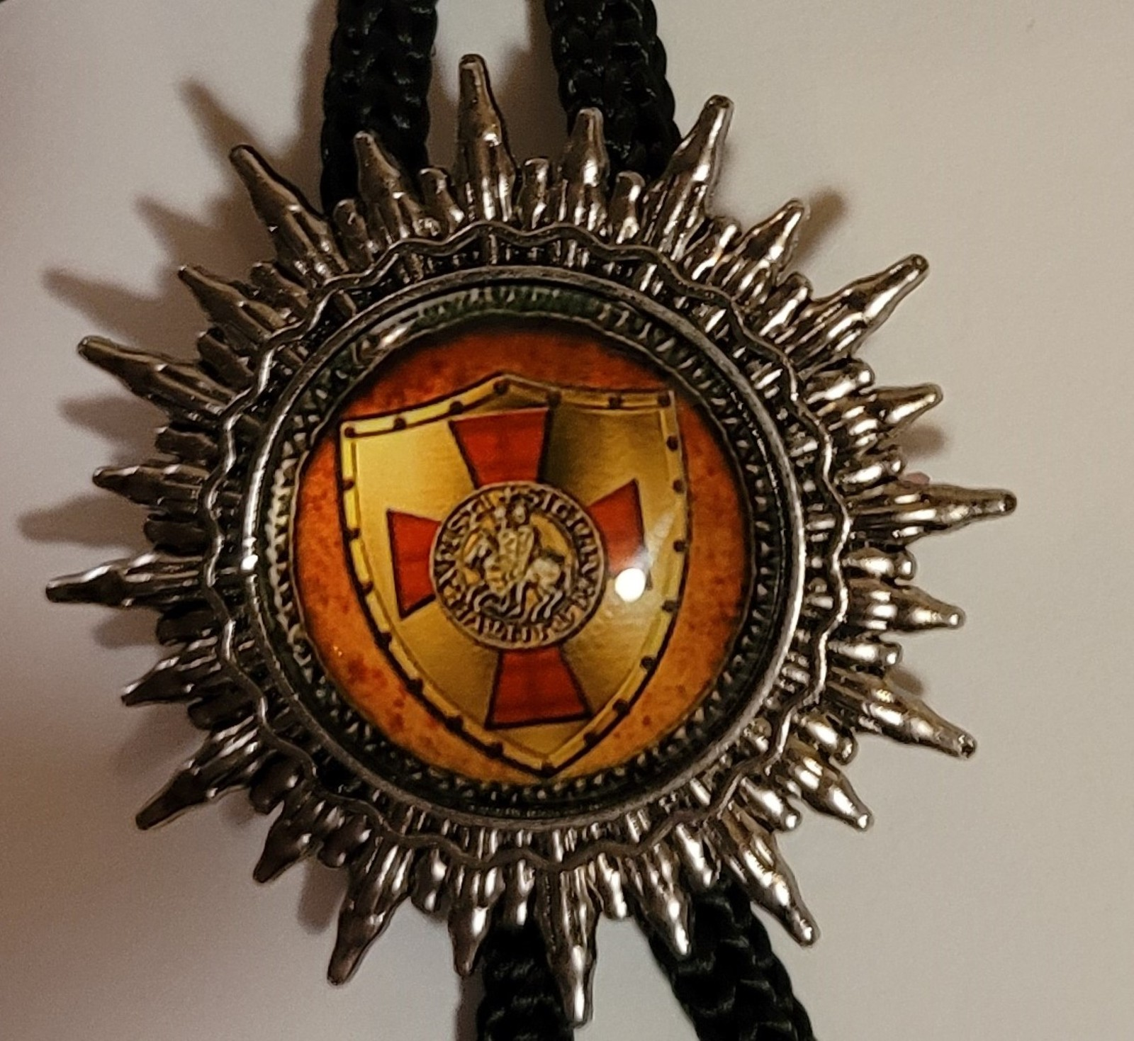 Knights Templar Bolo Necklace Tie - Cross Shield Golden Background
