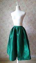 Dark Blue Glossy A Line Ruffle Skirt Women Taffeta High Waist Pleated Midi Skirt image 7