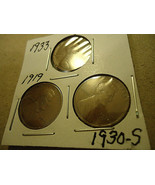 THREE LINCOLN WHEAT CENT COINS     >> 1933 1919 1930-S  - $4.25