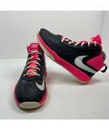 Nike Girls Team Hustle Sneakers Black Pink Round Toe Lace Up Mid Top You... - $15.19
