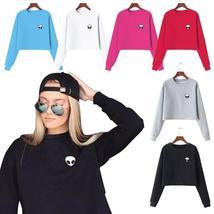 Women Alien Print Crop Top Hoodie Sweatshirt Lady Casual Pullover Coat Autumn Lo