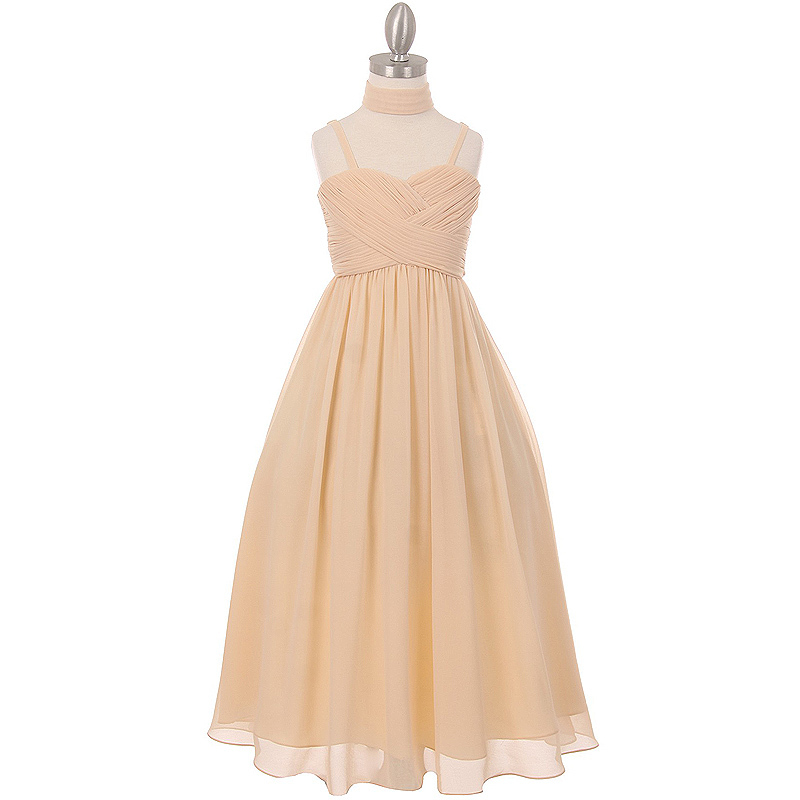 Primary image for Champagne Pleated Bodice Chiffon Dress Adjustable Shoulder Strap Matching Shawl