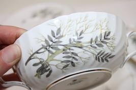 Cream Soup Bowl 2Sets w Saucers Adderley Branches Ferns  Porcelain Lyncr... - $20.00
