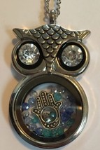 Owl Necklace Floating Hamsa & Swarovski Crystals Charm Pendant Fatima Gift image 2