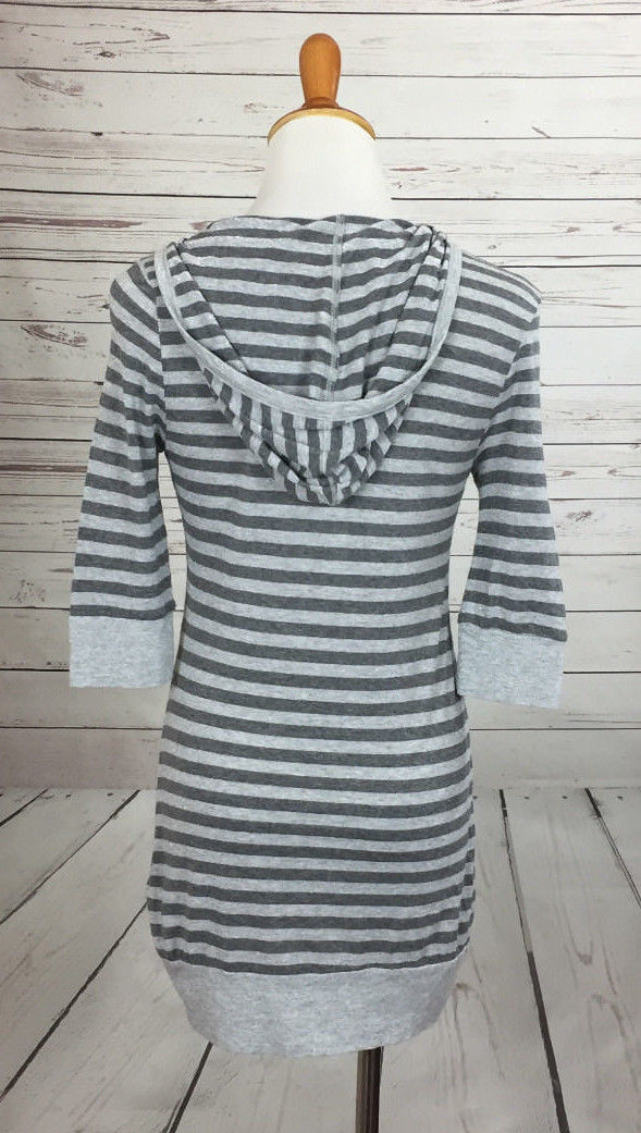 Splendid Striped Hooded Knit Top sz Medium Sparkle Accent Free shipping