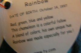 "Vintage Ty Beanie Babies Rainbow "" The Chameleon "" Hang Tag/Tush Tag 1997 Errors image 7"