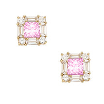 14K Yellow Gold 7MM Square Cut Pink Tourmaline October Birthstone Stud ER-PE1-10 - $93.05