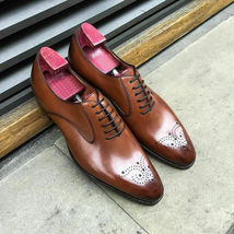 Handmade Men's Brown Leather Brogues Slip Ons Dress/Formal Oxford Leather Shoes image 3