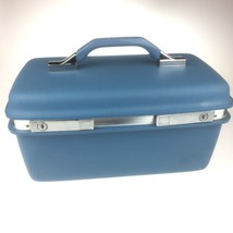 Vintage Samsonite Light Blue Train Case Mirror Montbello II Hard Side Ma... - $28.71