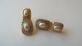 Vintage Trifari Faux Pearl Rhinestone Earrings 2.7cm - $16.63