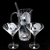 1 (One) ROGASKA FRANK LLOYD WRIGHT Hand-Blown Etched Crystal Martini Set... - $117.32