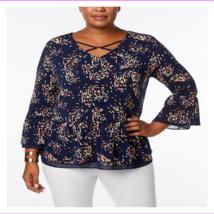 JM Collection Women's Plus Size Chiffon-Trim Bell Sleeve Top - $15.51