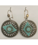 Silver Colored Metal & Imitation Blue Stones Round Dangle Style Pierced ... - $12.00