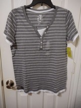Women's Made For Life Short Sleeve Layered T Shirt Gray Stripe Size Large NEW - $14.84