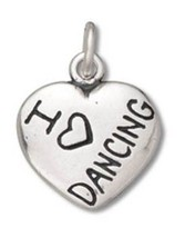 Sterling Silver I Love Dancing Heart Charm Pendant (14 x 13 mm) - $62.49