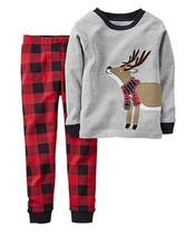 Carter's Baby Boys' 2-Piece Reindeer Pajamas, Gray/Red, Size 6 Months, MSRP $20 - $11.87