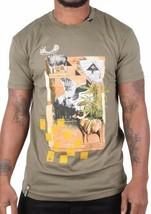 LRG Hombre Lifted Montaña Militar Verde En Alto Suelo Hierba Ajustado Camiseta